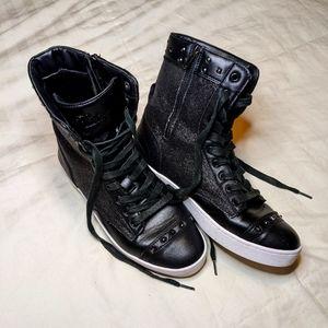 Pastry Black Glitter High Top Dance Sneaker